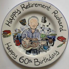 Happy retirement 60th birthday hand painted plate