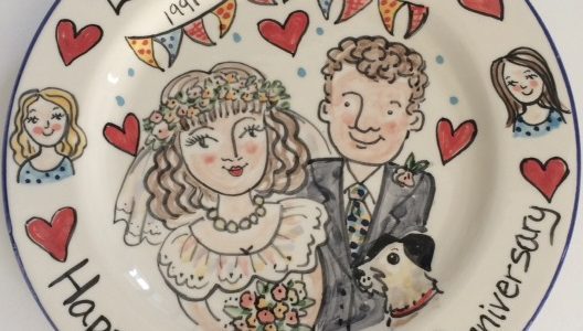 Happy silver wedding anniversary personalised plate