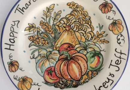 Hand painted happy Thanksgiving plate