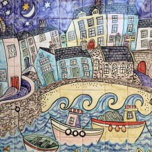 Harbour at night tile mural