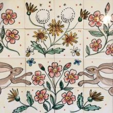 Hare and flowers hand painted kitchen tile mural