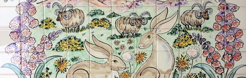 Tile Mural of hares and mountains
