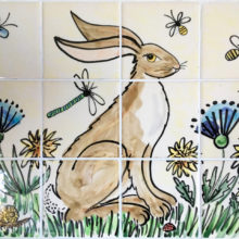 Hand painted hare tile mural