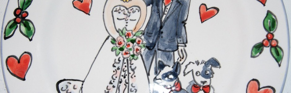 Hand painted personalised wedding plate 2010 S&P