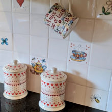 single hand painted tiles, bees, tea cups and tea pots