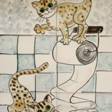 kittens playing toilet mural