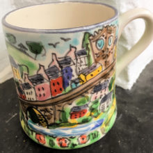 Hand painted mug depicting Llandeilo bridge