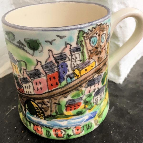 Hand painted mug depicting Llandeilo bridge