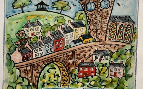 Llandeilo town single hand painted tile
