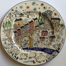Hand painted plate with view of Llandeilo