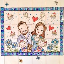Loving family hand painted kitchen tile mural