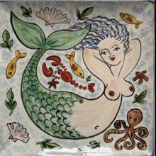 Mermaid hand painted bathroom tiles