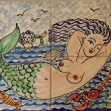 Mermaid bathroom tile mural