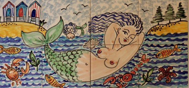 Mermaid bathroom tile mural