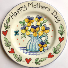 Happy Mothers Day hand painted plate
