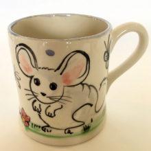 White mouse hand painted Mug