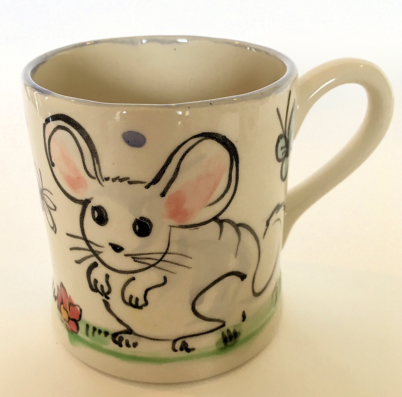 White mouse hand painted Mug