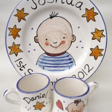 Personalised hand painted mugs and plates 2012