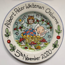 New baby hand painted plate November 2020