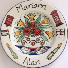 Personalised hand painted anniversary plate