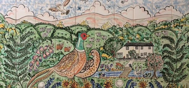 Hand painted pheasant kitchen tile mural
