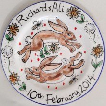 Hand painted personalised happy bunnies Plate
