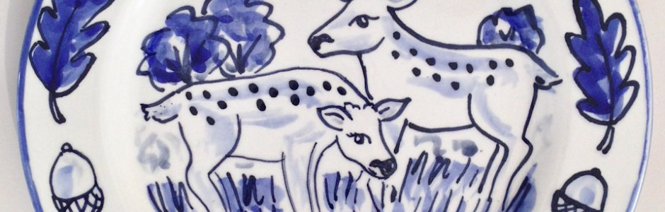 Blue and White Delft style deer plate for a wedding anniversary