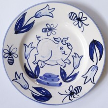 Deft Style blue and white hand painted pig plate