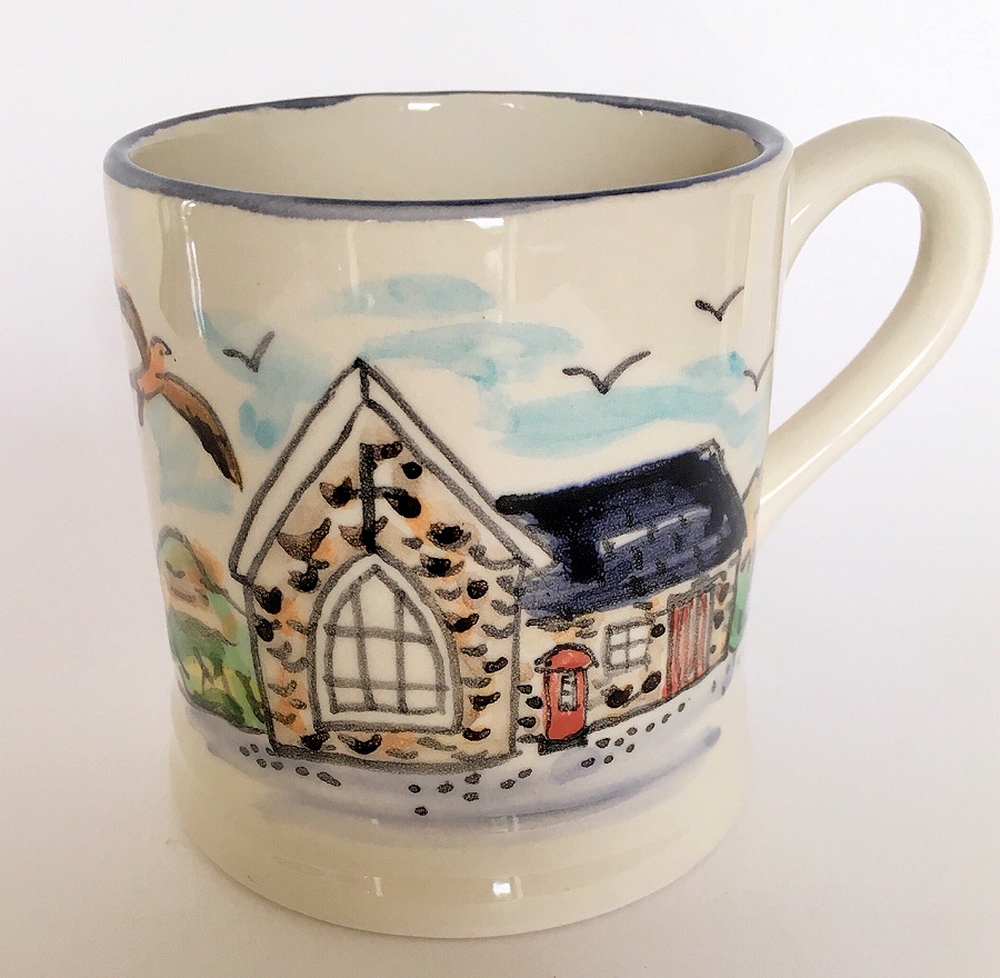 Hand painted mug of old post office