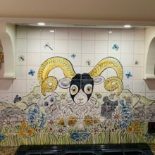 Rams head hand painted kitchen tile mural