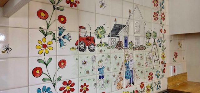 Kitchen splashback red tractor tile mural