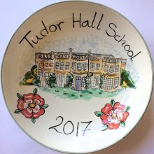 Hand painted school commemorative bowl
