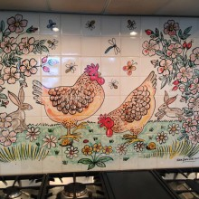 Hen and Hare tile mural