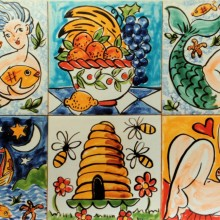 Single bath tiles boating, beehives. mermaids, Neptune and naked lady