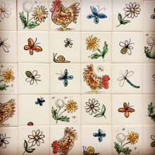 Single tiles country images hand painted
