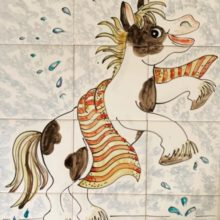 splashing horse bathroom mural