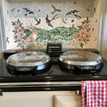 Swallows tile mural behind Aga range cooker