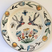 swallow spring hand painted plate