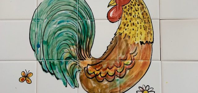 Kitchen tile mural hand painted cockerel