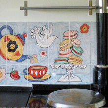Hand Painted Tea Time Kitchen Tile Murals