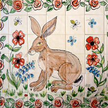 Hand Painted Hare Wall Tiles