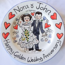Hand painted personalised Happy Golden Wedding Anniversary Plate N&J