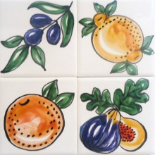 Single hand painted earthenware fruit Tiles