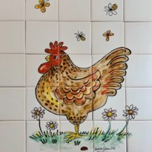 Kitchen tile mural hand painted hen