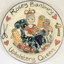 Upholstery Queen personalised retirement gift plate
