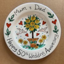 50th wedding anniversary hand painted plate