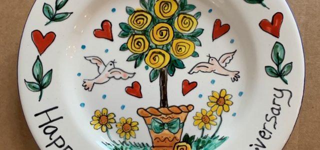 50th wedding anniversary hand painted plate