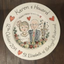 wedding celebration hand painted plate