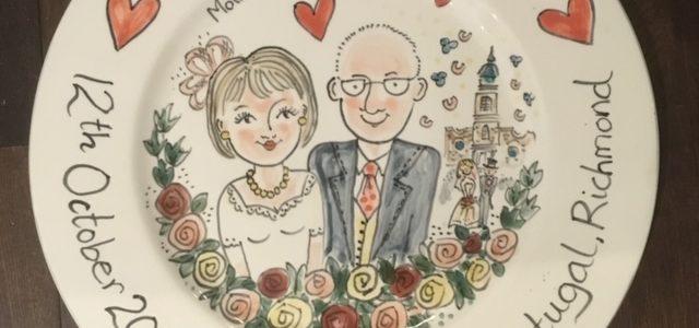 wedding celebration hand painted plate
