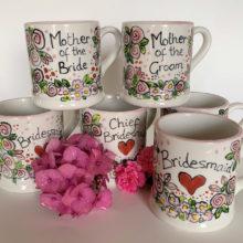 Hand painted wedding mugs